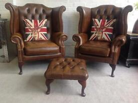 Queen Anne wing back Chesterfield armchairs. Foot still available. Can deliver