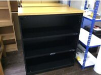 Black Metal Three Shelf Bookcase with Oak Colour Top