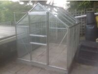 GREENHOUSE- ALUMINIUM 8 ft X 6 ft, complete with extra glass panels.