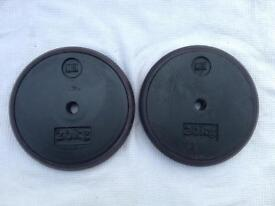 2 x 20kg Men's Health Rubber Encased Standard Cast Iron Weights