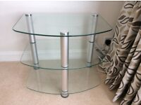 GLass rounded triangle shape glass top table 43cm by 60cm