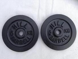 2 x 5kg Hill Standard Cast Iron Weights