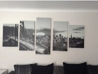 5 piece black and white city canvas
