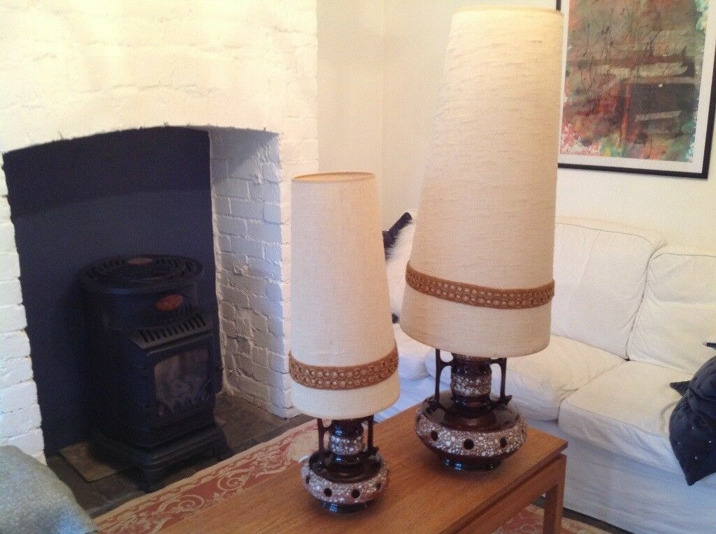 Stunning matching pair of 1970's lamps, a floor lamp and a table lamp. Both have original shades.
