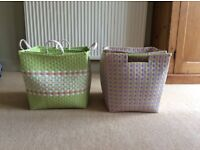 Laura Ashley storage baskets, two baskets per set.