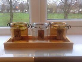 NEXT Set of 3 glass jam jar style tealight candle holder with oak base