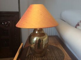 Gold table lamp with Thai silk shade