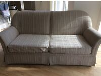 Beige Striped 2 Seater Sofa Bed
