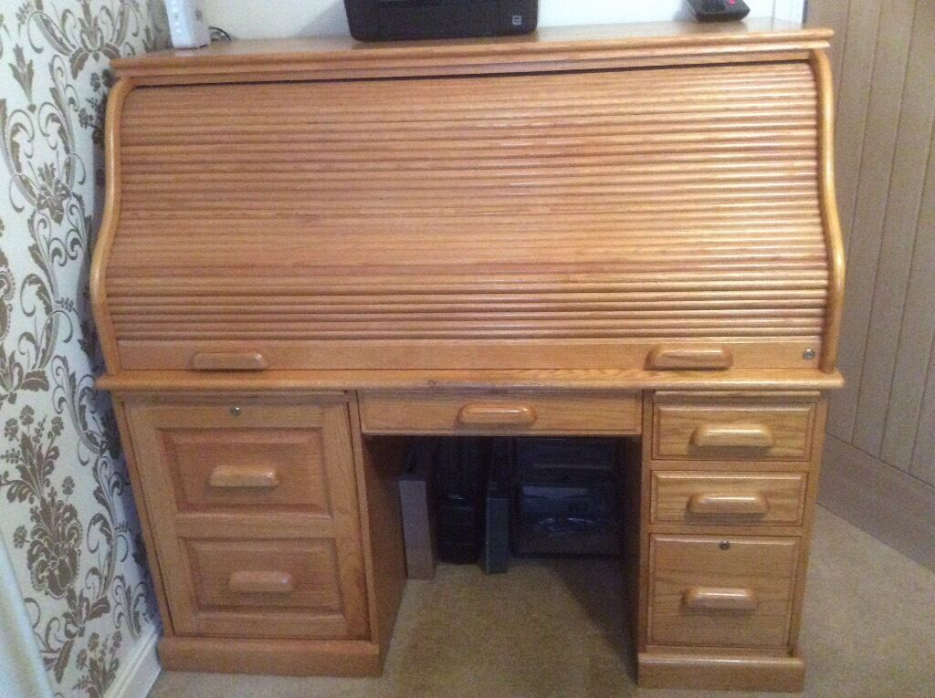 Oak Roll Top Computer Desk In Goole East Yorkshire Gumtree