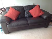 2 quality Italian leather sofas and footstool