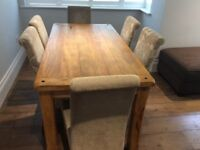 Solid Mango Dining table and 6 chairs. Oak Furniture Land