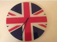 Union Jack wall clock (glass)