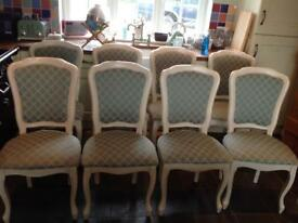 8 x Laura Ashley dining chairs green pattern