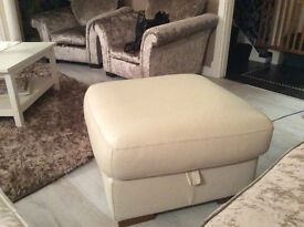 Cream leather large footstool pouffe as new