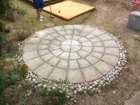 Circular Patio and decorative stones
