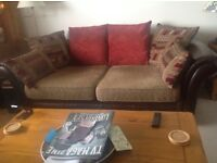 Brown Leather & Fabric Bed Settee with free Armchair
