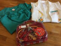 Hamleys Drs bag and Drs jacket with surgeons green scrubs