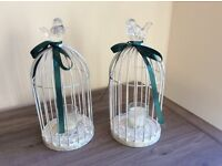 3 metal bird cage candle holders