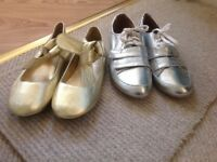 2 pairs of metallic coloured flat heeled shoes -size 5