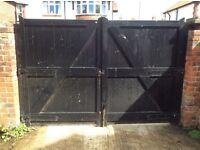 Double wooden garden driveway gates large