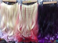 Clip in weft / weave one piece red blonde pink purple ideal for car boot job lot purchase