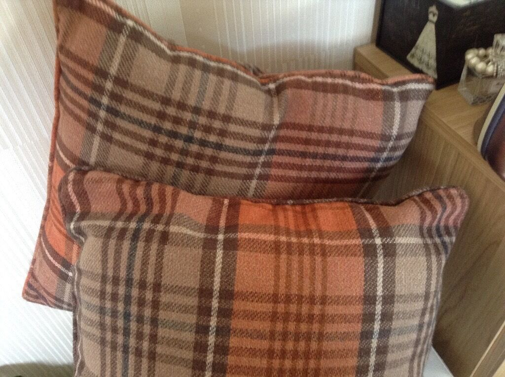 Next Orange Tartan Cushions 2 As New In Falkirk Gumtree