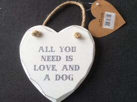 Sass & Belle All You Need is Love and a Dog Plaque