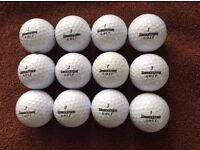 12.BRIDGESTONE MIXED TOUR GOLFBALLS IN VERY GOOD CONDITION.