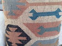 Four beautiful cushions new unused fabric mixture of Seagrams & hessian AZTEC pattern