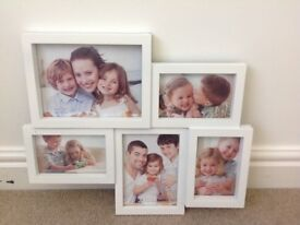 White wooden multi size photo frame