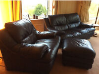 Blue leather 3 seater sofa, armchair and footstool.