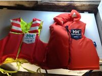 GRAB a BARGAIN NEW LOWER PRICE 2 number Helley Hanson Life jackets in very good condition.