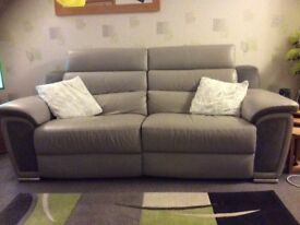 3 Seater Reclining Grey Leather/Suede Sofa