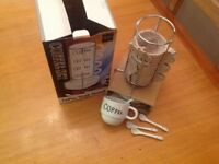Coffee mug & spoon set on stand NEW