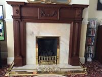 Fire Surround with fender, fire stand, marble hearth & back