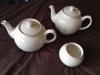 teapots x2 sugar bowl x1 white with multi colour fleck and pink trim, excellent