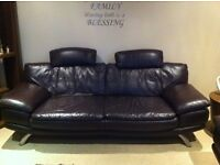 Real Italian Leather 2+3 Seater Sofa with Matching Foot Stool - Brown.
