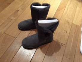 Ladies Bailey Button Grey Ugg Boots