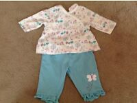 Baby girl top and trouser outfit, size newborn.