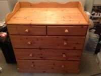 Large 5 Drawer Chest in Antique Pine - Excellent