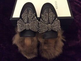 Gucci brand new fur slide with crystals size 38 (uk 5)