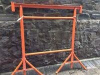 Builders trestles, pair of heavy duty tubular metal frames