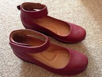 CLARKS Artisan Clarene Tide Burgundy Leather Wedge Sandals