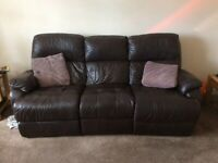 Leather 3 seater settee with 2 recliner seats ,2 seater settee and a foot stool box