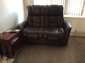 Large brown leather 2 seater sofa perfect condition