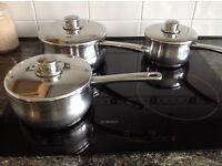 STELLAR STAINLESS STEEL PANS - Set of three