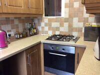 Small fitted kitchen with tiles and fridge