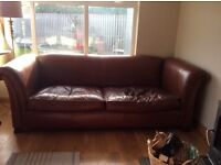 Gorgeous chestnut coloured leather grand sofa