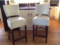 Cream leather bar chairs