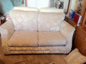 Two seater sofa, chair and footstool
